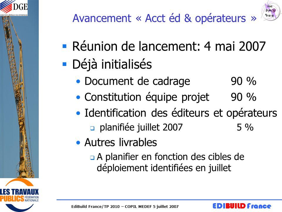 EDIBUILD France EdiBuild France/TP 2010 – COPIL MEDEF 5 juillet 2007 Avancement « Acct éd & opérateurs » Réunion de lancement: 4 mai 2007 Déjà initial