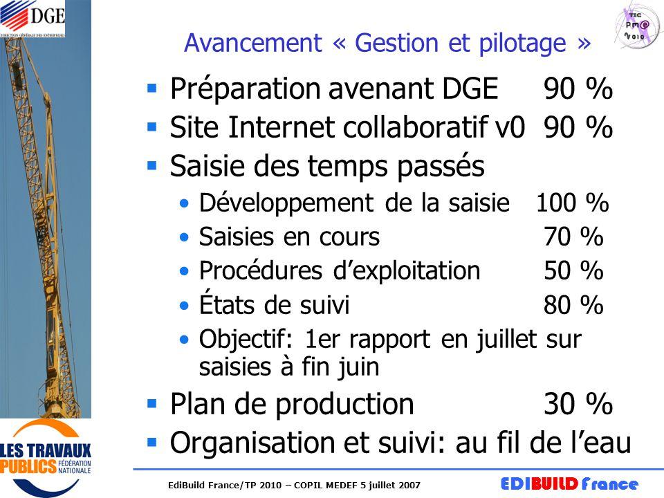 EDIBUILD France EdiBuild France/TP 2010 – COPIL MEDEF 5 juillet 2007 Avancement « Gestion et pilotage » Préparation avenant DGE90 % Site Internet coll