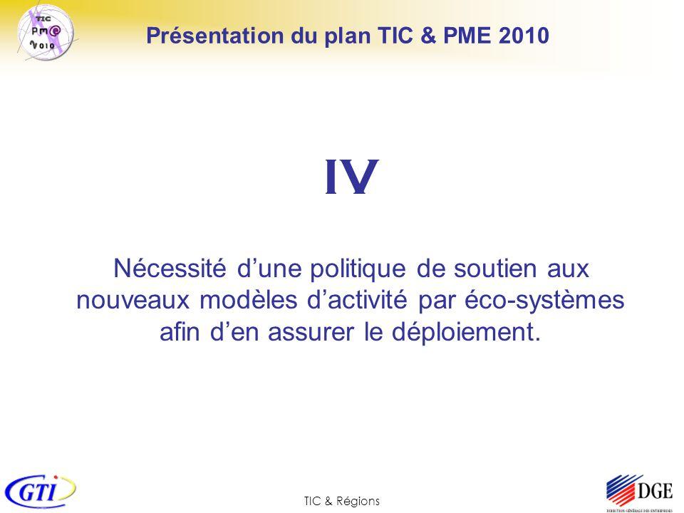 TIC & Régions Présentation du plan TIC & PME 2010 IV Nécessité dune politique de soutien aux nouveaux modèles dactivité par éco-systèmes afin den assu