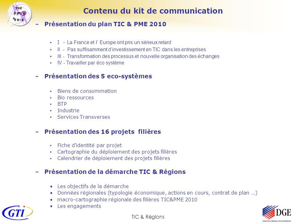 TIC & Régions Présentation du plan TIC & PME 2010 Une nouvelle organisation des échanges La numérisation des processus et des messages est un premier facteur de compétitivité mais le facteur le plus important est la transformation des processus et de lorganisation même des échanges.