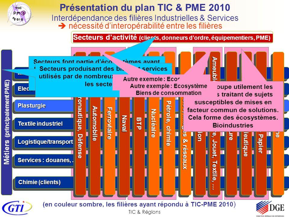 TIC & RégionsPlasturgiePlasturgie Chimie (clients) Logistique/transportLogistique/transport Présentation du plan TIC & PME 2010 Interdépendance des fi