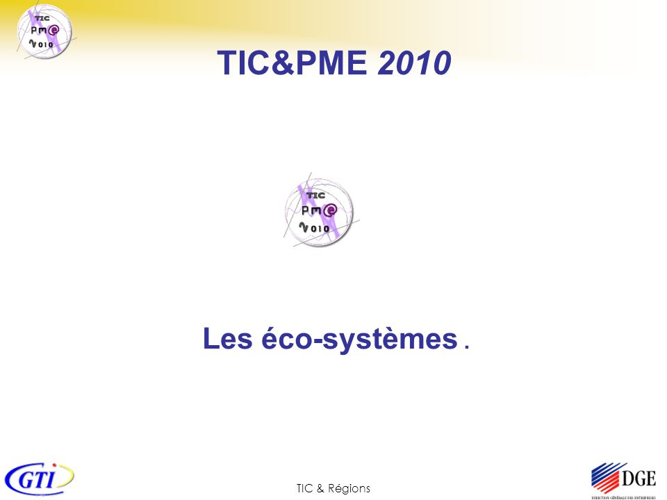 TIC & Régions TIC&PME 2010 Les éco-systèmes.
