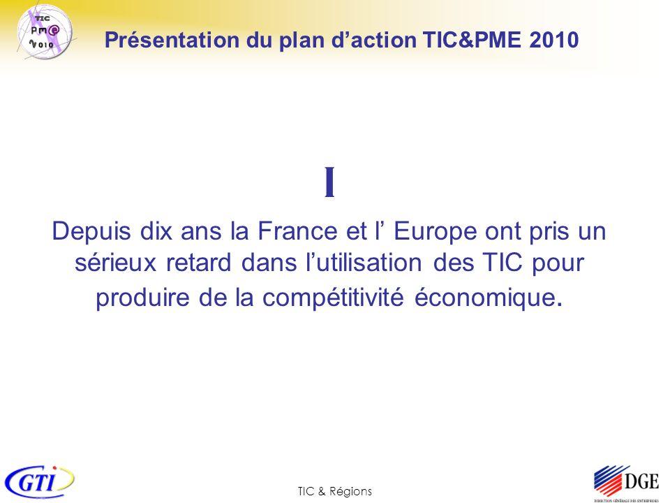 TIC & Régions Présentation du plan daction TIC&PME 2010 I Depuis dix ans la France et l Europe ont pris un sérieux retard dans lutilisation des TIC po