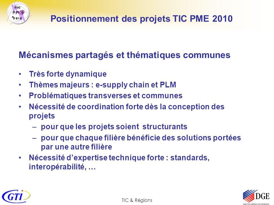TIC & Régions Mécanismes partagés et thématiques communes Très forte dynamique Thèmes majeurs : e-supply chain et PLM Problématiques transverses et co