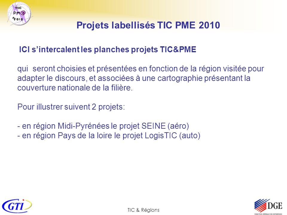 TIC & Régions ICI sintercalent les planches projets TIC&PME qui seront choisies et présentées en fonction de la région visitée pour adapter le discour