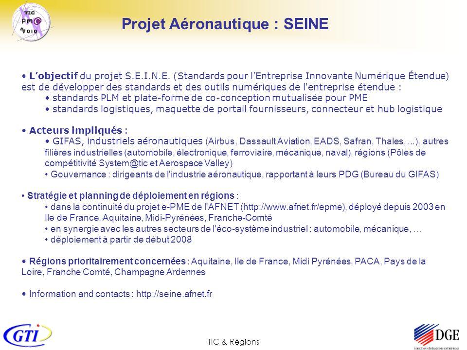 TIC & Régions Lobjectif du projet S.E.I.N.E. (Standards pour lEntreprise Innovante Numérique Étendue) est de développer des standards et des outils nu