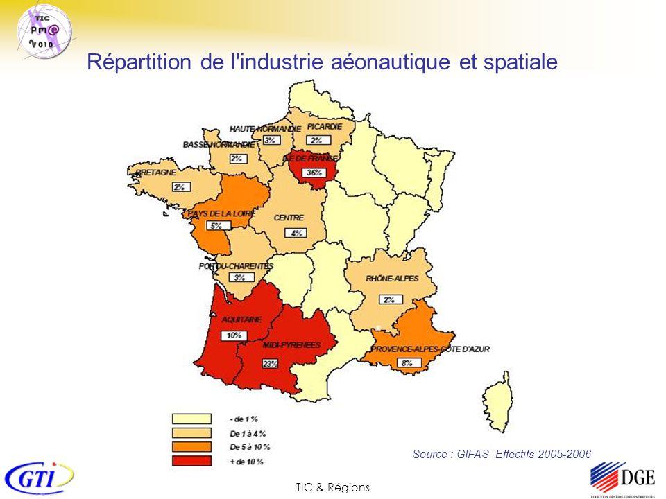 TIC & Régions Source : GIFAS. Effectifs 2005-2006 Répartition de l'industrie aéonautique et spatiale