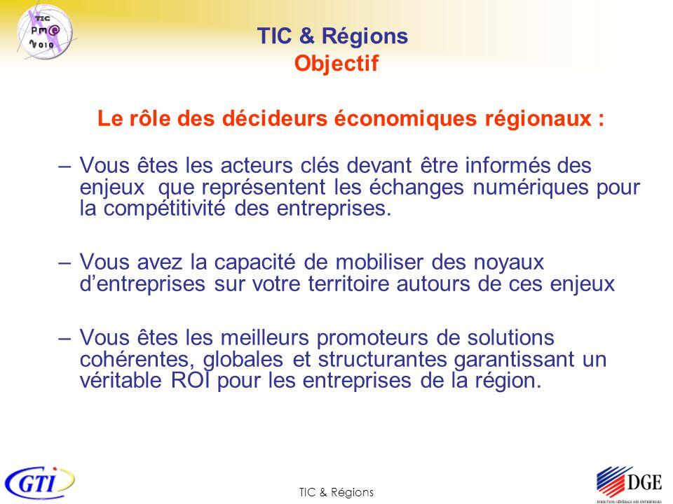 TIC & Régions Objectif Le rôle des décideurs économiques régionaux : –Vous êtes les acteurs clés devant être informés des enjeux que représentent les
