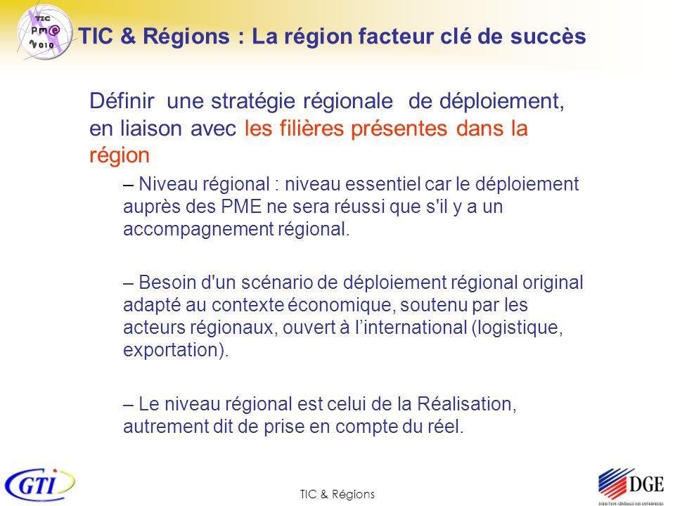 TIC & Régions Définir une stratégie régionale de déploiement, en liaison avec les filières présentes dans la région – Niveau régional : niveau essenti
