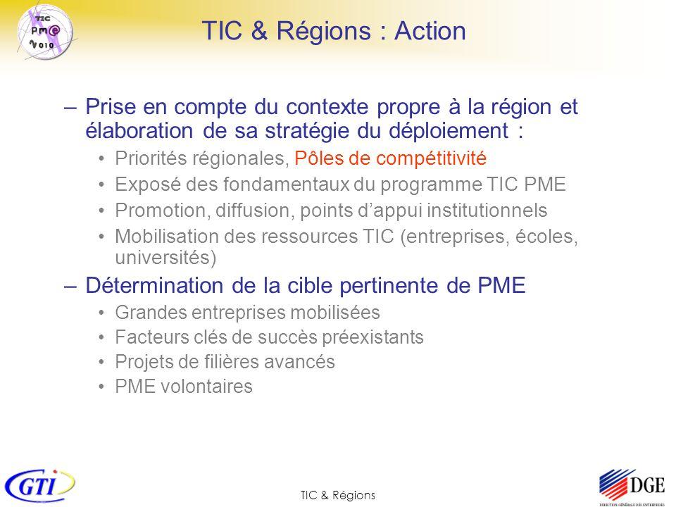 TIC & Régions TIC & Régions : Action –Prise en compte du contexte propre à la région et élaboration de sa stratégie du déploiement : Priorités régiona