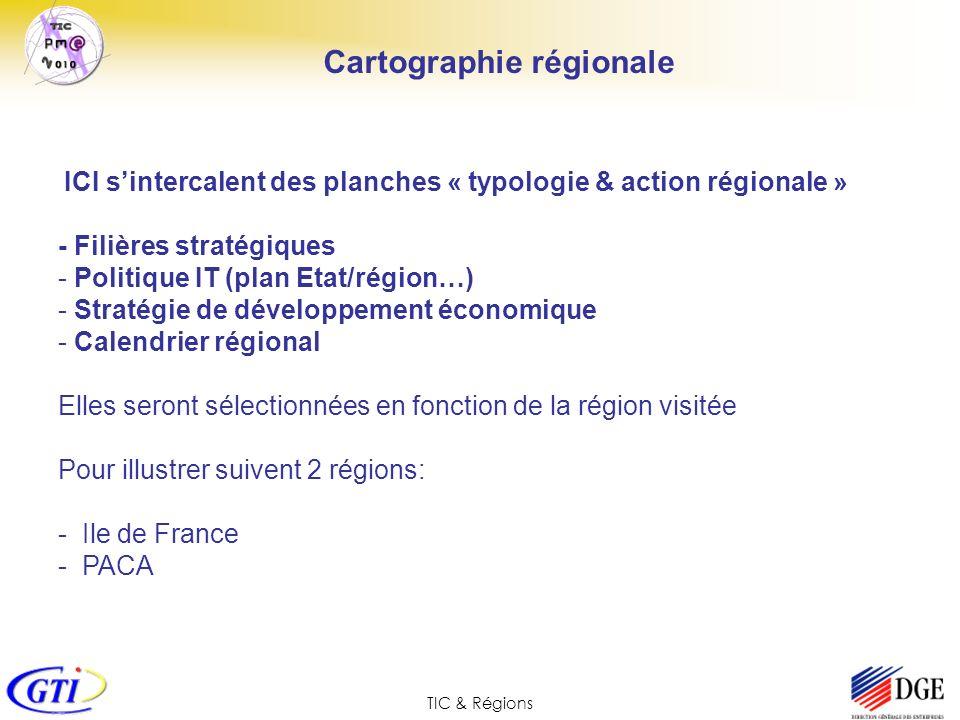 TIC & Régions ICI sintercalent des planches « typologie & action régionale » - Filières stratégiques - Politique IT (plan Etat/région…) - Stratégie de