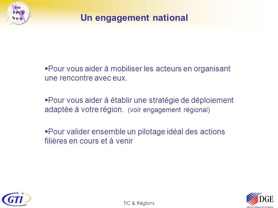 TIC & Régions Un engagement national Pour vous aider à mobiliser les acteurs en organisant une rencontre avec eux. Pour vous aider à établir une strat
