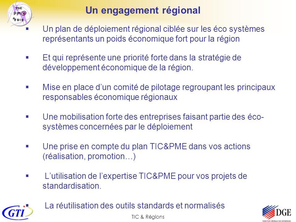 TIC & Régions Un engagement régional Un plan de déploiement régional ciblée sur les éco systèmes représentants un poids économique fort pour la région