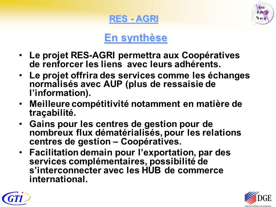 Le projet RES-AGRI permettra aux Coopératives de renforcer les liens avec leurs adhérents. Le projet offrira des services comme les échanges normalisé