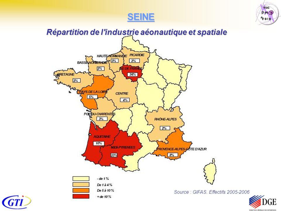 Source : GIFAS. Effectifs 2005-2006 Répartition de l'industrie aéonautique et spatiale SEINE