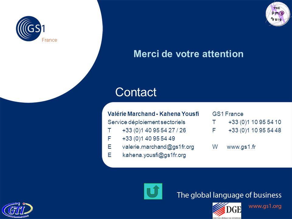 © 2005 GS1 France Contact GS1 France T +33 (0)1 10 95 54 10 F +33 (0)1 10 95 54 48 Wwww.gs1.fr Valérie Marchand - Kahena Yousfi Service déploiement se