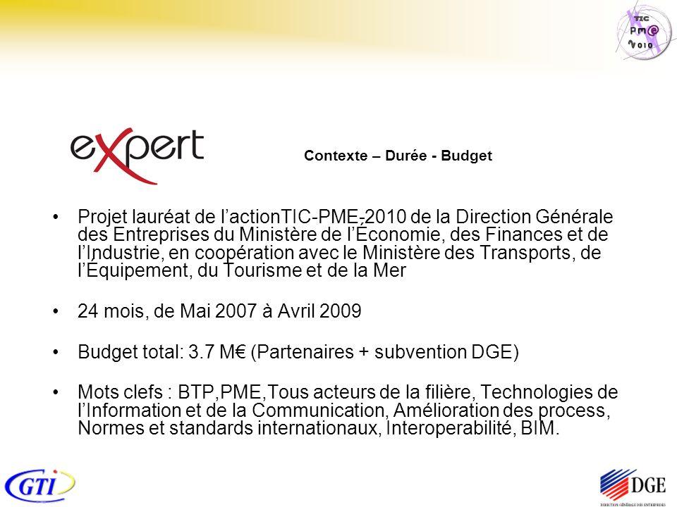 Contexte – Durée - Budget Projet lauréat de lactionTIC-PME-2010 de la Direction Générale des Entreprises du Ministère de lÉconomie, des Finances et de