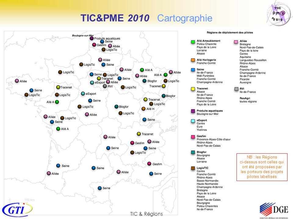 TIC&PME 2010 Cartographie TIC & Régions NB : les Régions ci-dessus sont celles qui ont été proposées par les porteurs des projets pilotes labellisés