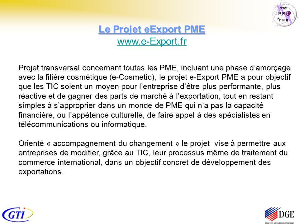 Le Projet eExport PME Le Projet eExport PME www.e-Export.fr www.e-Export.fr Projet transversal concernant toutes les PME, incluant une phase damorçage avec la filière cosmétique (e-Cosmetic), le projet e-Export PME a pour objectif que les TIC soient un moyen pour lentreprise dêtre plus performante, plus réactive et de gagner des parts de marché à lexportation, tout en restant simples à sapproprier dans un monde de PME qui na pas la capacité financière, ou lappétence culturelle, de faire appel à des spécialistes en télécommunications ou informatique.
