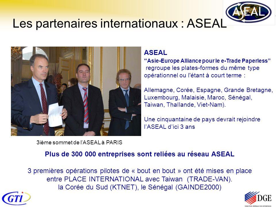 Les partenaires internationaux : ASEAL ASEAL Asie-Europe Alliance pour le e-Trade Paperless regroupe les plates-formes du même type opérationnel ou l étant à court terme : Allemagne, Corée, Espagne, Grande Bretagne, Luxembourg, Malaisie, Maroc, Sénégal, Taiwan, Thaïlande, Viet-Nam).
