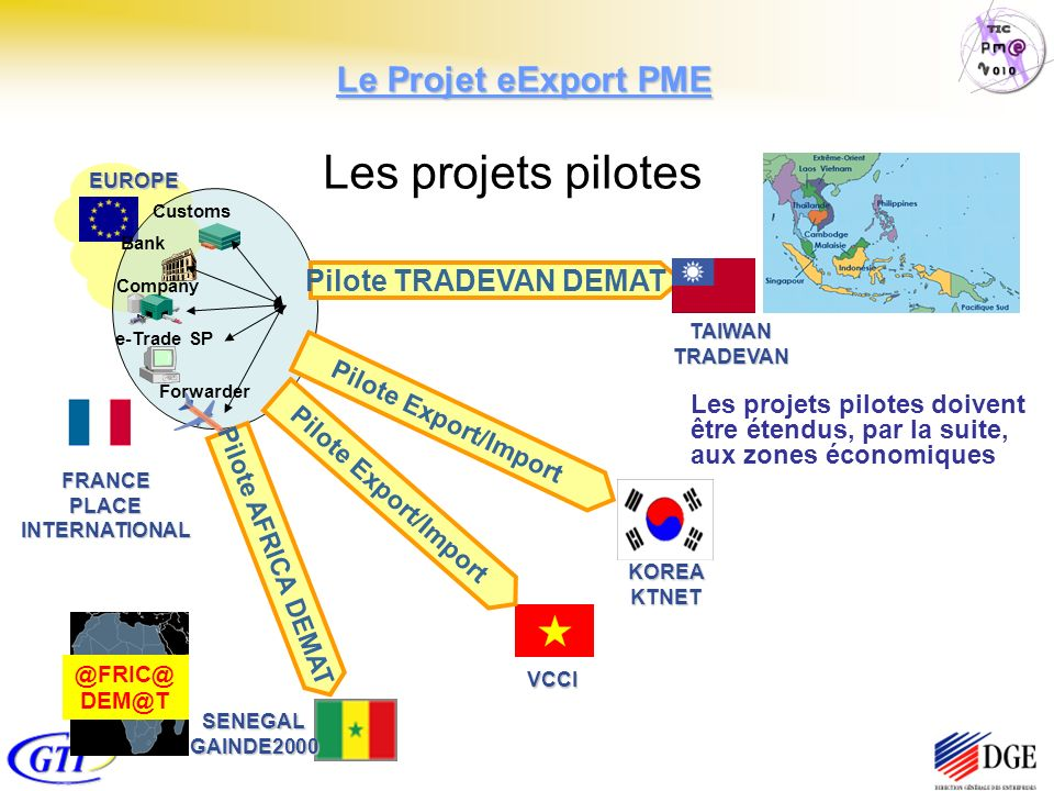 EUROPE FRANCEPLACEINTERNATIONAL Customs Bank Company Forwarder e-Trade SP SENEGALGAINDE2000 VCCI KOREAKTNET Pilote TRADEVAN DEMAT Pilote Export/Import