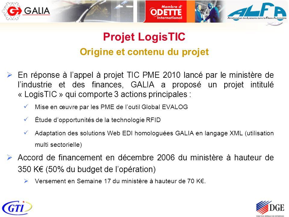 En réponse à lappel à projet TIC PME 2010 lancé par le ministère de lindustrie et des finances, GALIA a proposé un projet intitulé « LogisTIC » qui co
