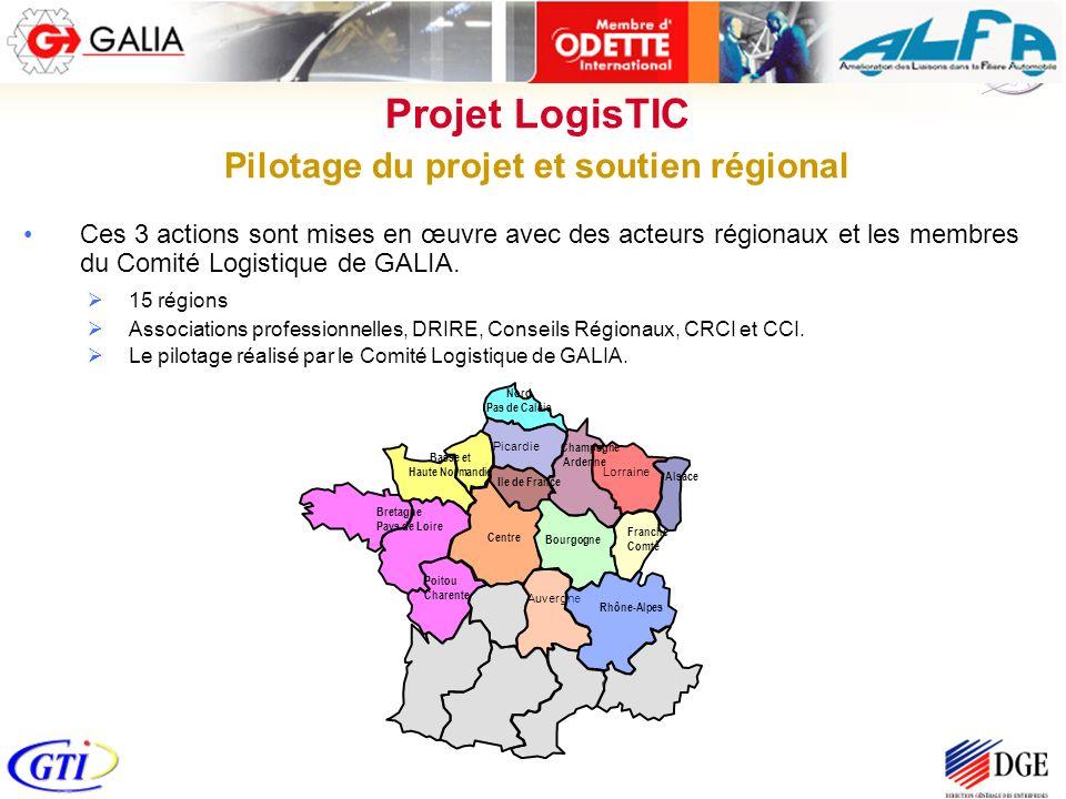 Ces 3 actions sont mises en œuvre avec des acteurs régionaux et les membres du Comité Logistique de GALIA. 15 régions Associations professionnelles, D