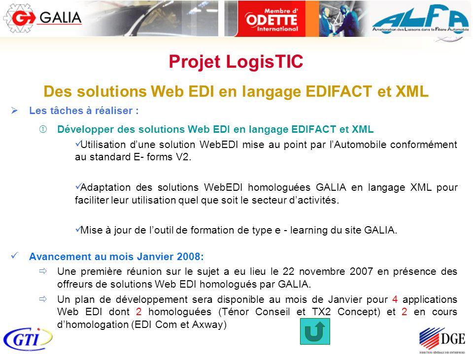 Les tâches à réaliser : Développer des solutions Web EDI en langage EDIFACT et XML Utilisation dune solution WebEDI mise au point par lAutomobile conformément au standard E- forms V2.