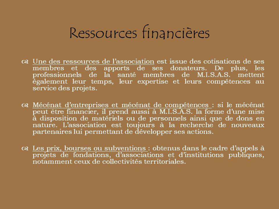 Une des ressources de lassociation est issue des cotisations de ses membres et des apports de ses donateurs. De plus, les professionnels de la santé m