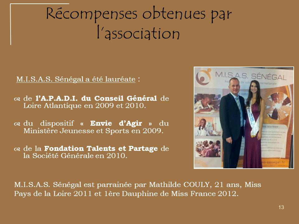13 Récompenses obtenues par lassociation M.I.S.A.S. Sénégal a été lauréate : de lA.P.A.D.I. du Conseil Général de Loire Atlantique en 2009 et 2010. du