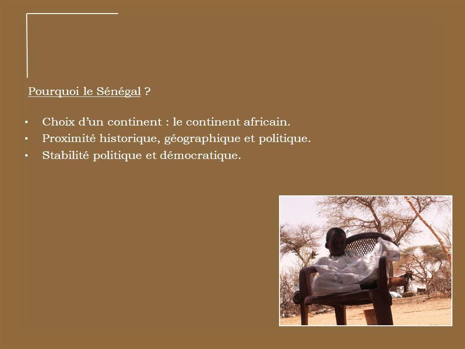 Pourquoi le Sénégal ? Choix dun continent : le continent africain. Proximité historique, géographique et politique. Stabilité politique et démocratiqu
