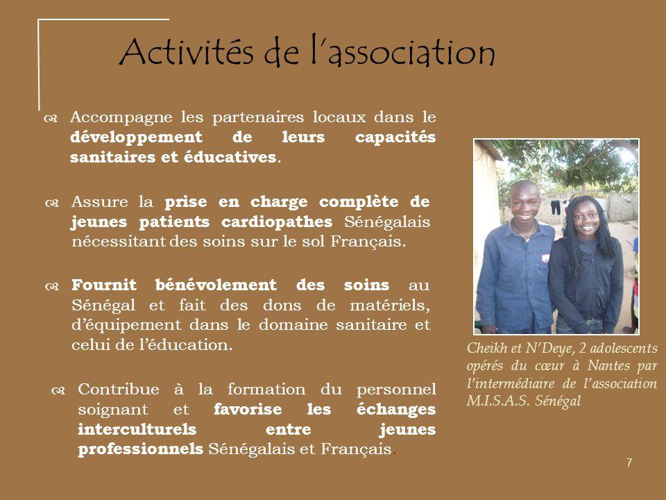 Accompagne les partenaires locaux dans le développement de leurs capacités sanitaires et éducatives. 7 Activités de lassociation Cheikh et NDeye, 2 ad