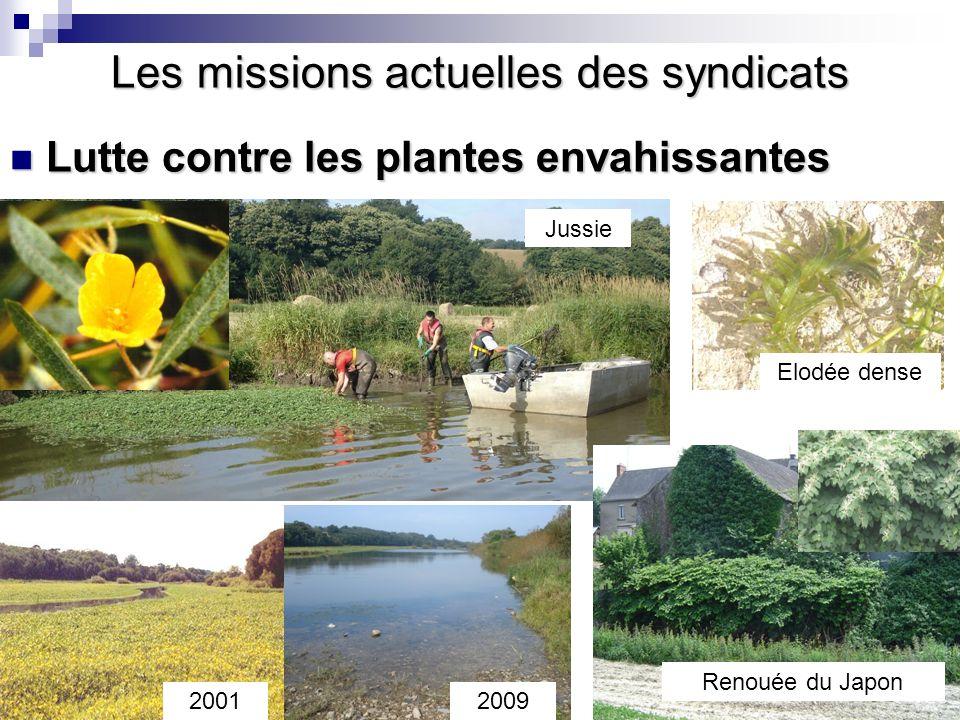 Conférence sur l'eau Lutte contre les plantes envahissantes Lutte contre les plantes envahissantes Les missions actuelles des syndicats Jussie Elodée
