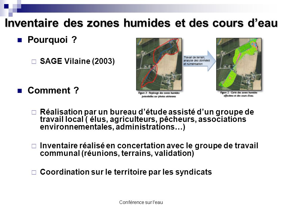 Conférence sur l'eau Inventaire des zones humides et des cours deau Pourquoi ? SAGE Vilaine (2003) Comment ? Réalisation par un bureau détude assisté