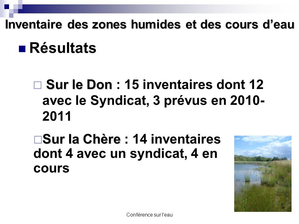 Conférence sur l'eau Inventaire des zones humides et des cours deau Résultats Sur le Don Sur le Don : 15 inventaires dont 12 avec le Syndicat, 3 prévu