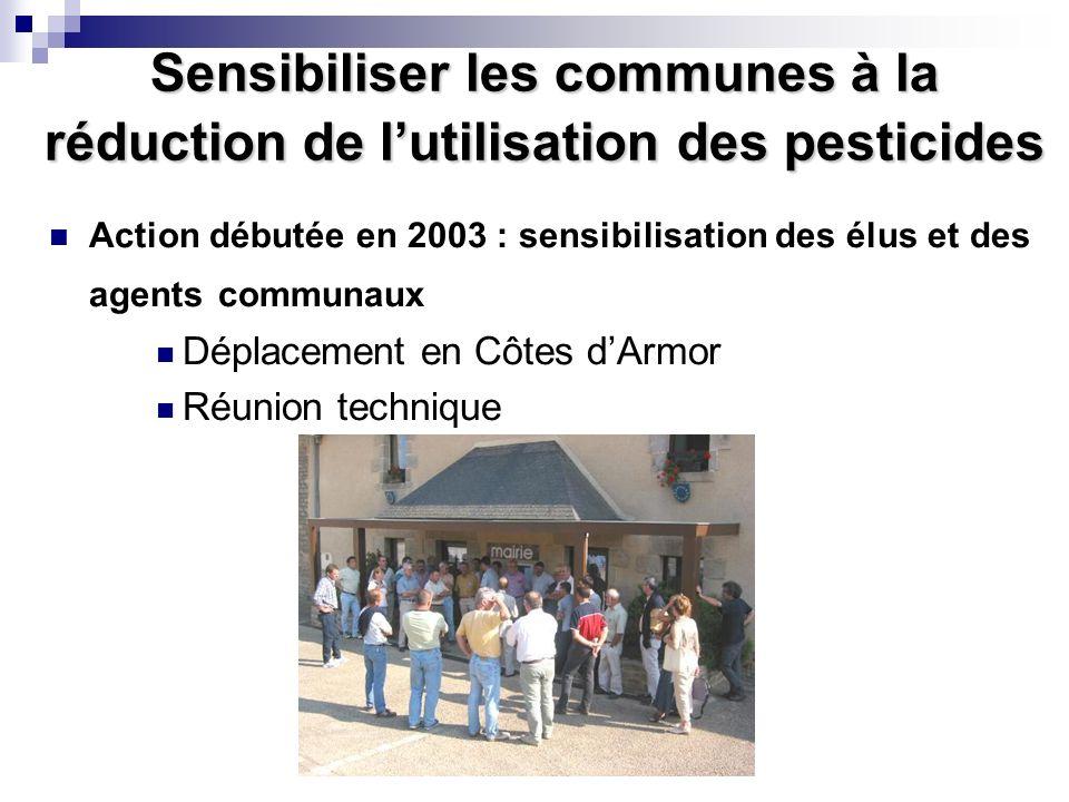Conférence sur l'eau Sensibiliser les communes à la réduction de lutilisation des pesticides Action débutée en 2003 : sensibilisation des élus et des