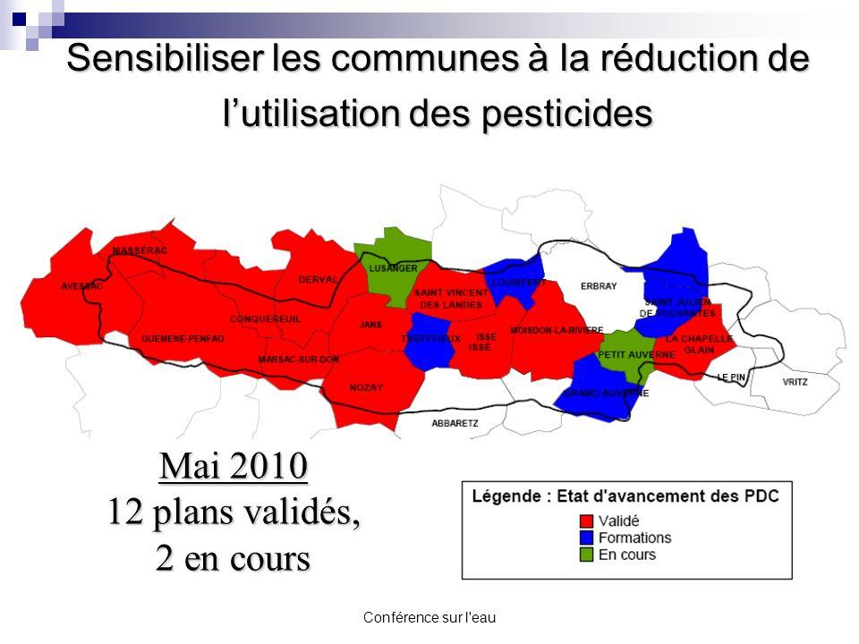 Conférence sur l'eau Sensibiliser les communes à la réduction de lutilisation des pesticides Mai 2010 12 plans validés, 2 en cours