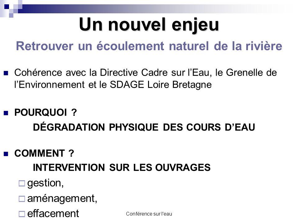 Conférence sur l'eau Cohérence avec la Directive Cadre sur lEau, le Grenelle de lEnvironnement et le SDAGE Loire Bretagne POURQUOI ? DÉGRADATION PHYSI