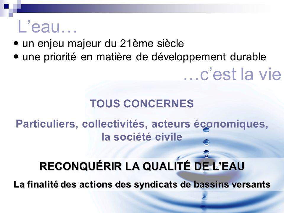 Conférence sur l'eau Leau… un enjeu majeur du 21ème siècle une priorité en matière de développement durable TOUS CONCERNES Particuliers, collectivités