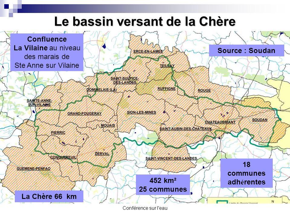Conférence sur l'eau 18 communes adh é rentes Le bassin versant de la Chère 452 km² 25 communes La Chère 66 km Source : Soudan Confluence La Vilaine a