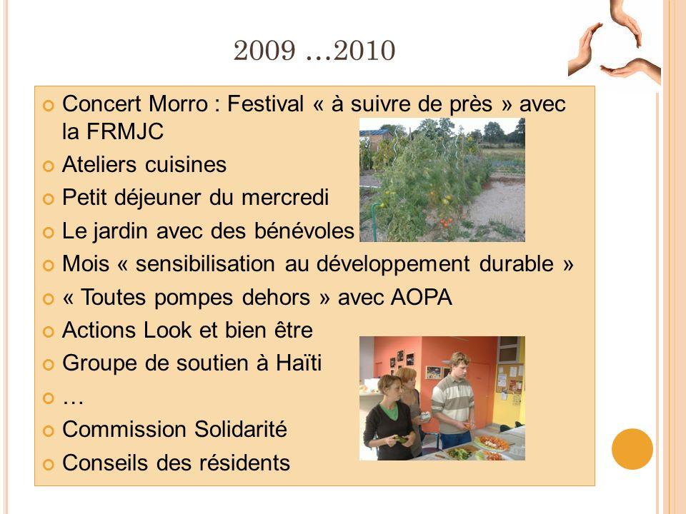 2009 …2010 Concert Morro : Festival « à suivre de près » avec la FRMJC Ateliers cuisines Petit déjeuner du mercredi Le jardin avec des bénévoles Mois « sensibilisation au développement durable » « Toutes pompes dehors » avec AOPA Actions Look et bien être Groupe de soutien à Haïti … Commission Solidarité Conseils des résidents