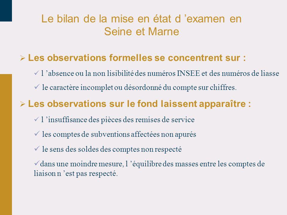 Le bilan de la mise en état d examen en Seine et Marne Les observations formelles se concentrent sur : l absence ou la non lisibilité des numéros INSEE et des numéros de liasse le caractère incomplet ou désordonné du compte sur chiffres.