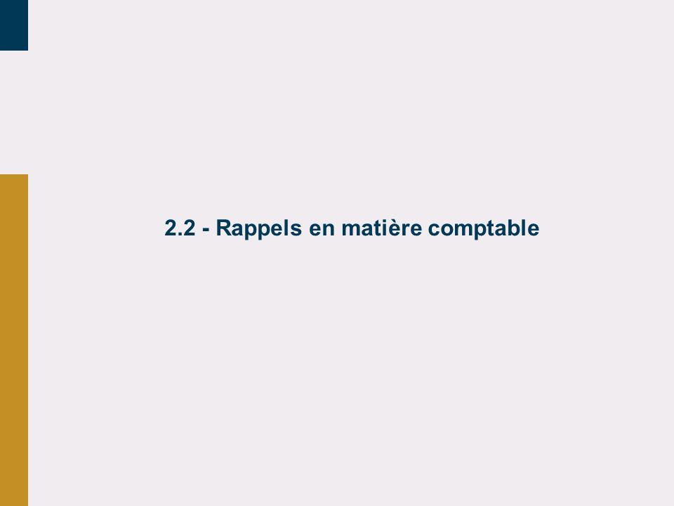 2.2 - Rappels en matière comptable