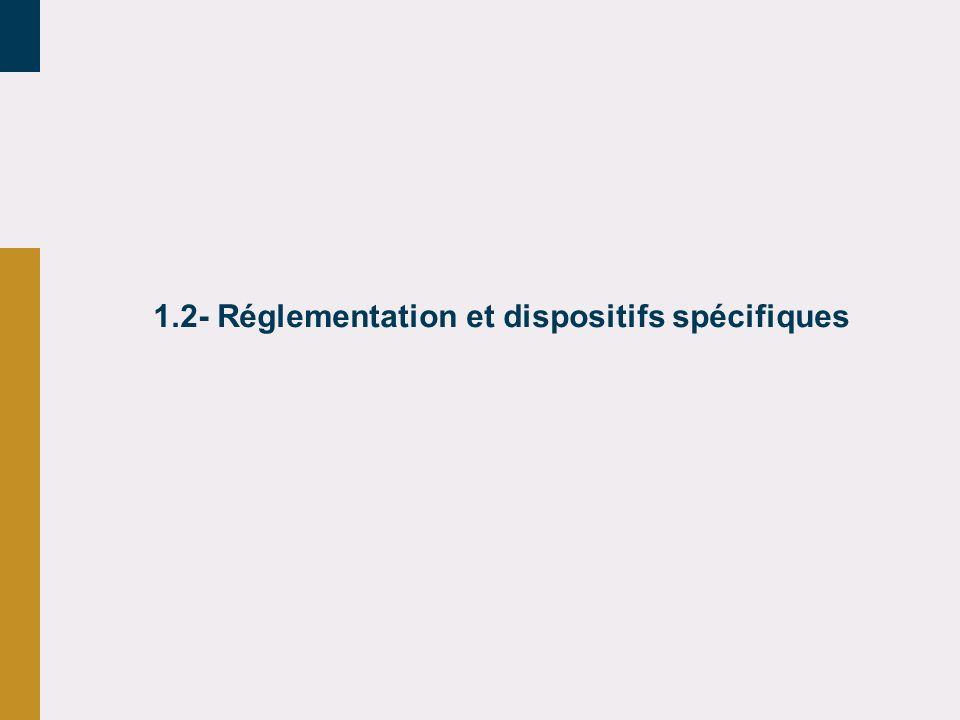 1.2- Réglementation et dispositifs spécifiques