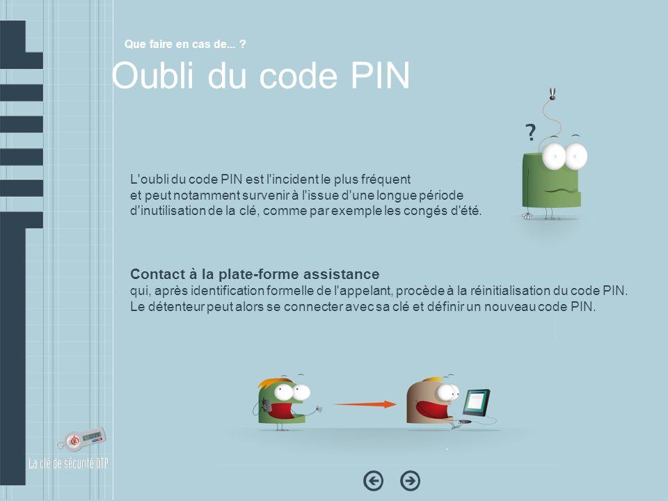 L'oubli du code PIN est l'incident le plus fréquent et peut notamment survenir à l'issue d'une longue période d'inutilisation de la clé, comme par exe