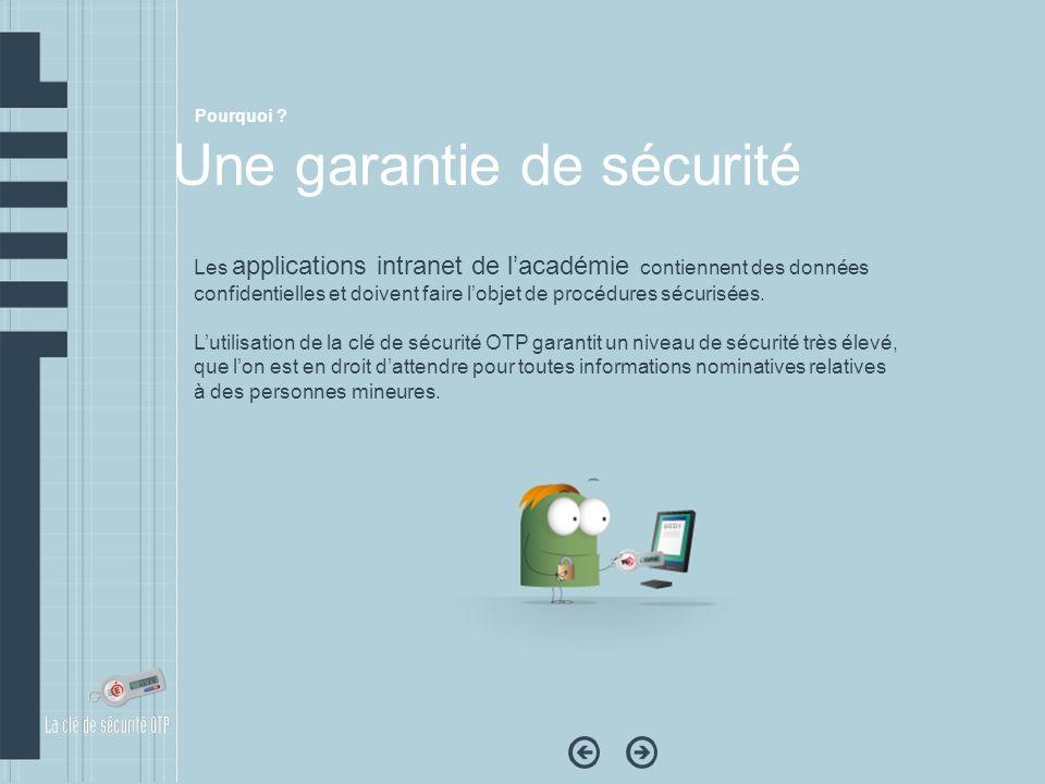 Les applications intranet de lacadémie contiennent des données confidentielles et doivent faire lobjet de procédures sécurisées. Lutilisation de la cl