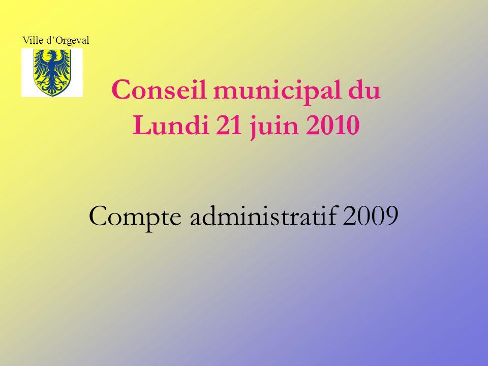 Conseil municipal du Lundi 21 juin 2010 Compte administratif 2009 Ville dOrgeval