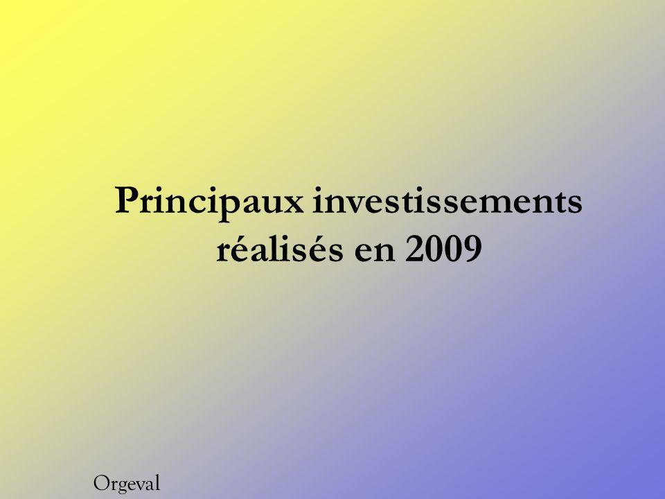Principaux investissements réalisés en 2009 Orgeval