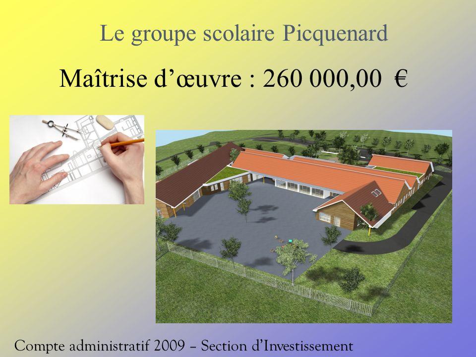 Le groupe scolaire Picquenard Compte administratif 2009 – Section dInvestissement Maîtrise dœuvre : 260 000,00