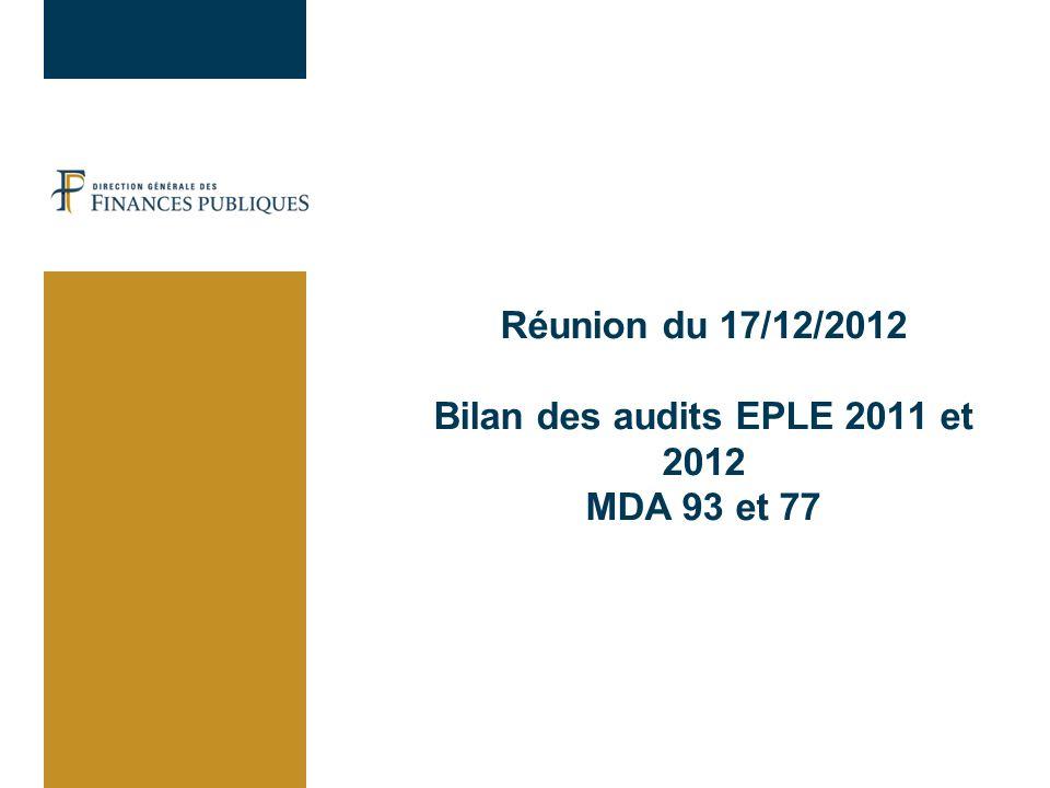 Réunion du 17/12/2012 Bilan des audits EPLE 2011 et 2012 MDA 93 et 77